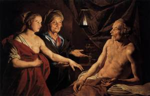 Sarai ia çon Hagarën Abrahamit, Mathias Stommer, 1637