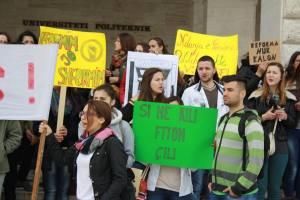 Nga protestat kundër reformës neoliberale në arsimin e lartë, Tiranë