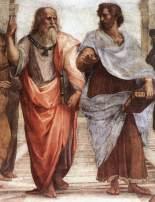 "Raffaello Sanzio da Urbino - Detaj nga ""Shkolla e Athinës"", Platoni (majtas) dhe Aristoteli."